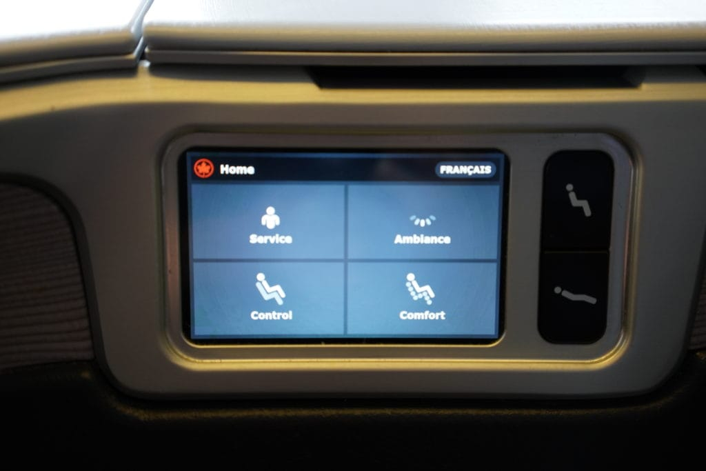 AirCanada Business Class Boeing 777 Option Touchpad