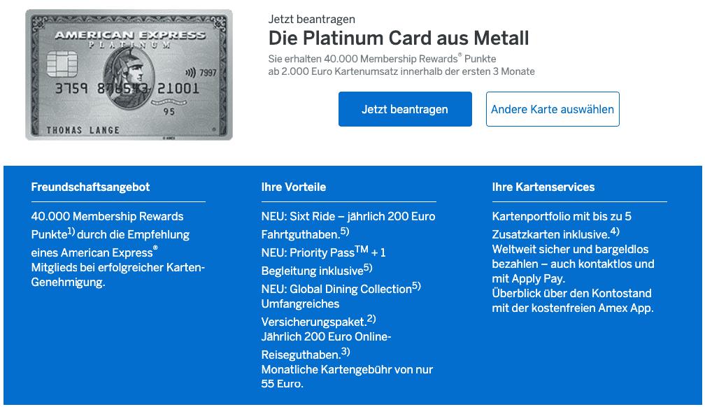 Neue Vorteile für die neue American Express Platinum Karte