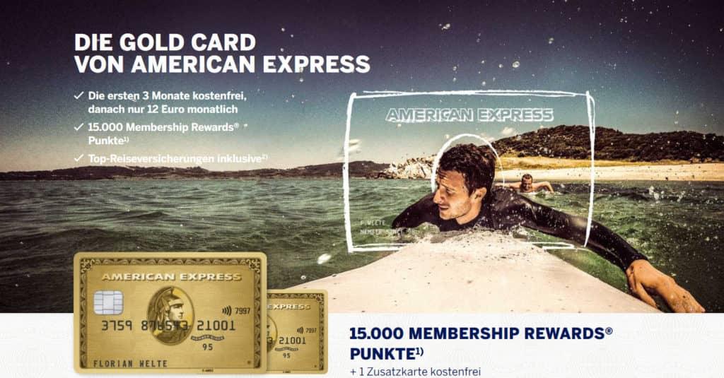 American Express Gold Kreditkarte mit 15.000 Membership Rewards Punkten als Willkommensbonus