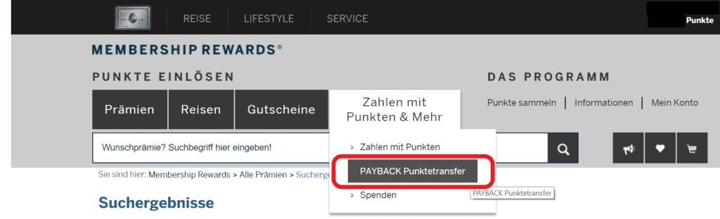 Payback Punktetransfer als Möglichkeit zum Einlösen der American Express Membership Rewards Punkte