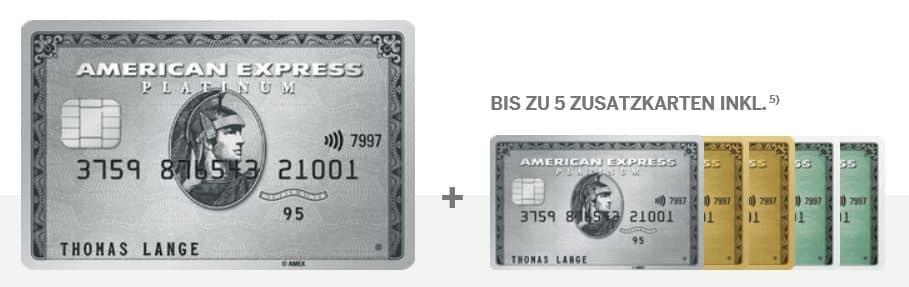 Die American Express Platinum bietet bis zu 5 kostenlose Zusatzkarten