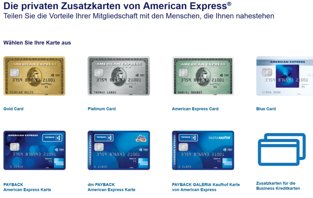 Die Ausstellung einer American Express Zusatzkarte ist mit allen Amex Kreditkarten möglich