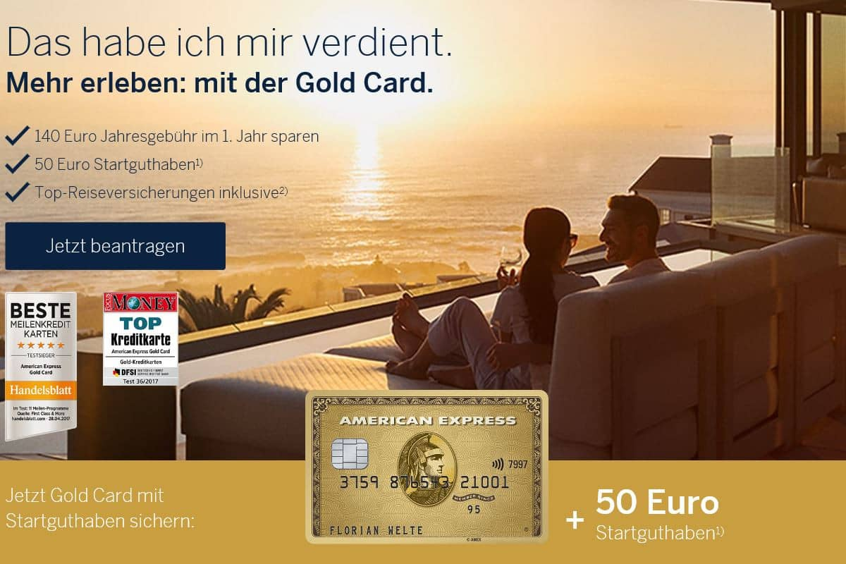 American Express Willkommensbonus für die Amex Gold: 50 Euro