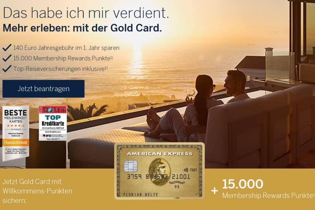 American Express GoldKreditkarte mit 15.000 Membership Rewards Punkten als Willkommensbonus