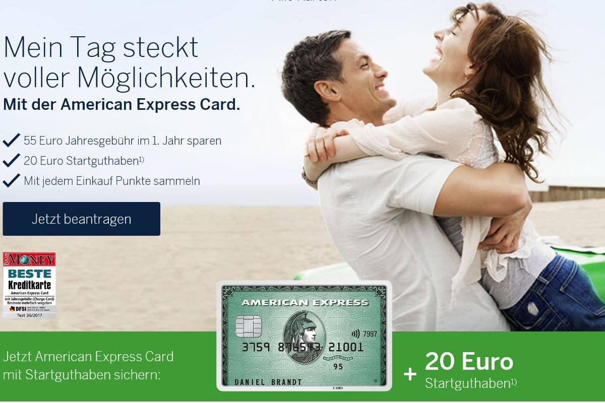 American Express Bonus für die Amex Green: 20 Euro