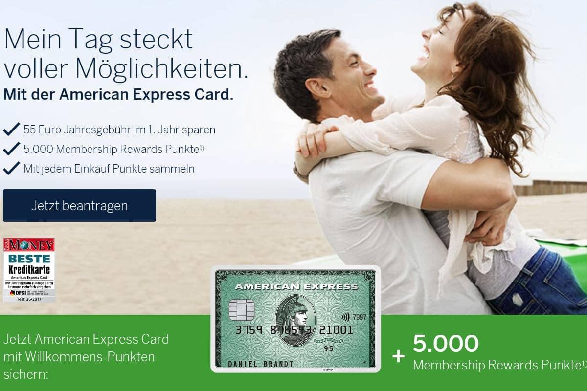American Express Bonus für die Amex Green: 5000 Punkte