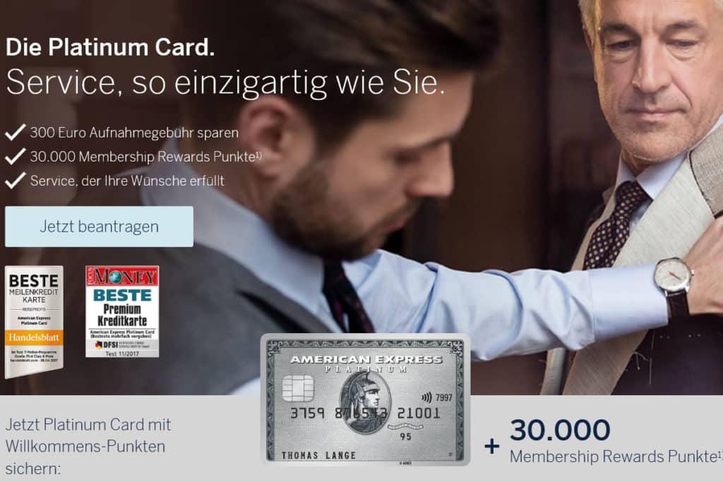 American Express Platinum Kreditkarte mit 30.000 Membership Rewards Punkten als Willkommensbonus