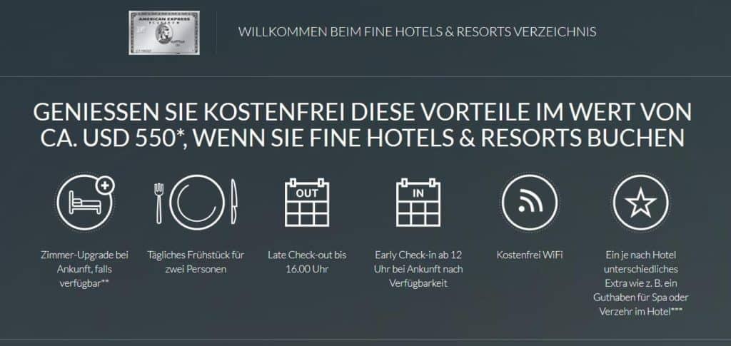 Zu den American Express Platinum Vorteilen gehört auch das Fine Hotels & Resorts Portal