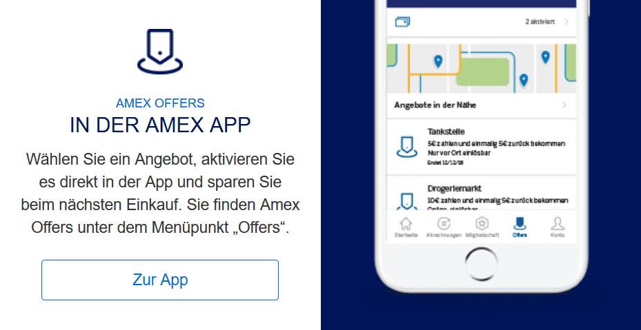 Amex Offers - zu finden in der Amex App