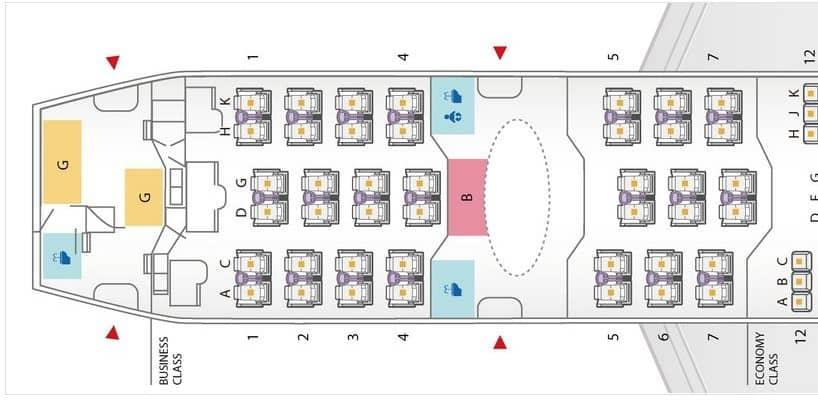 Sitzplan der ANA Boeing 787-8 für die regionale Business Class &copy ANA
