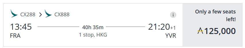 Für nur 125.000 Asia Miles in der Cathay Pacific First Class von Frankfurt über Hongkong nach Vancouver