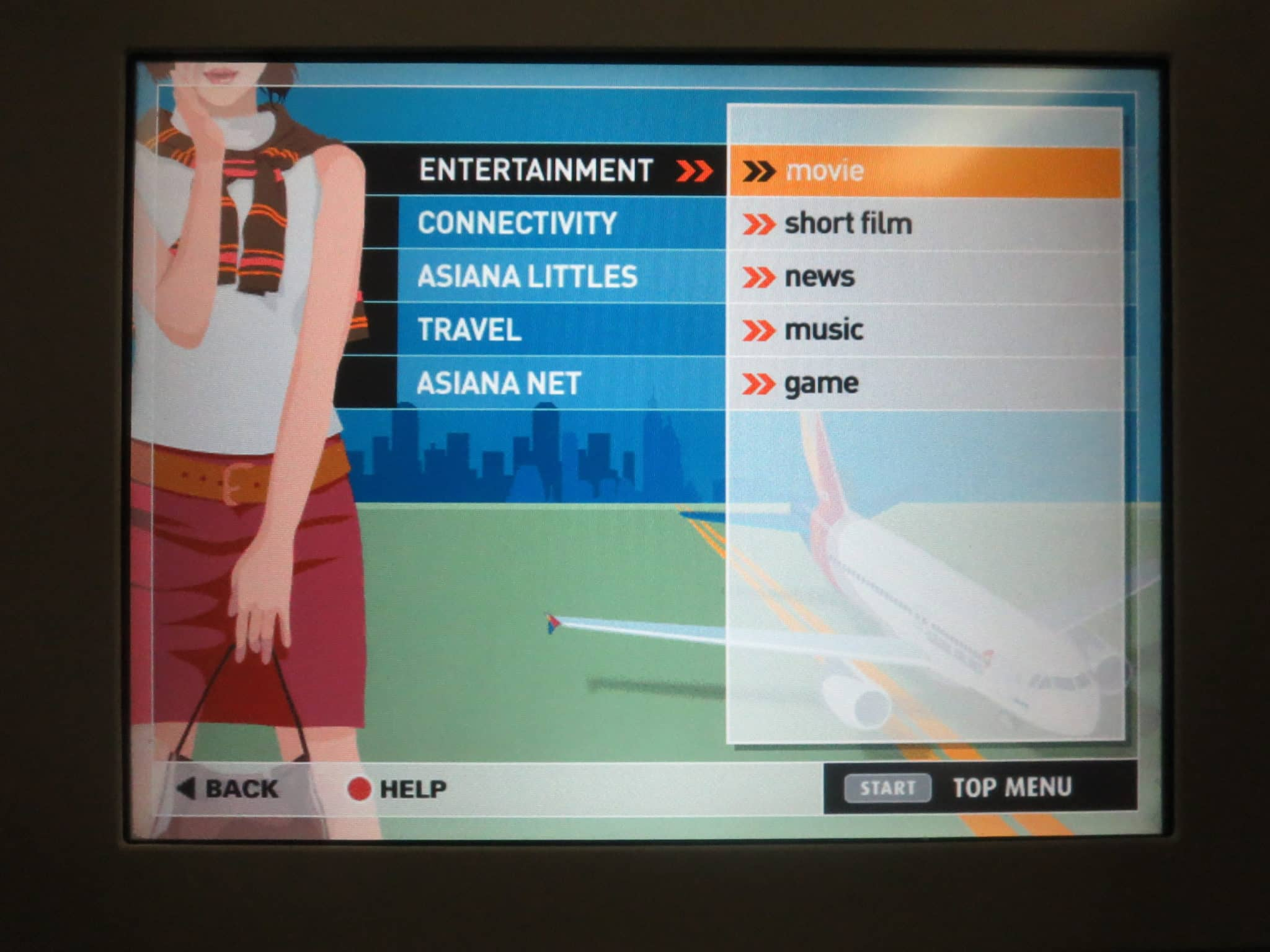 Asiana Business Class Entertainment System