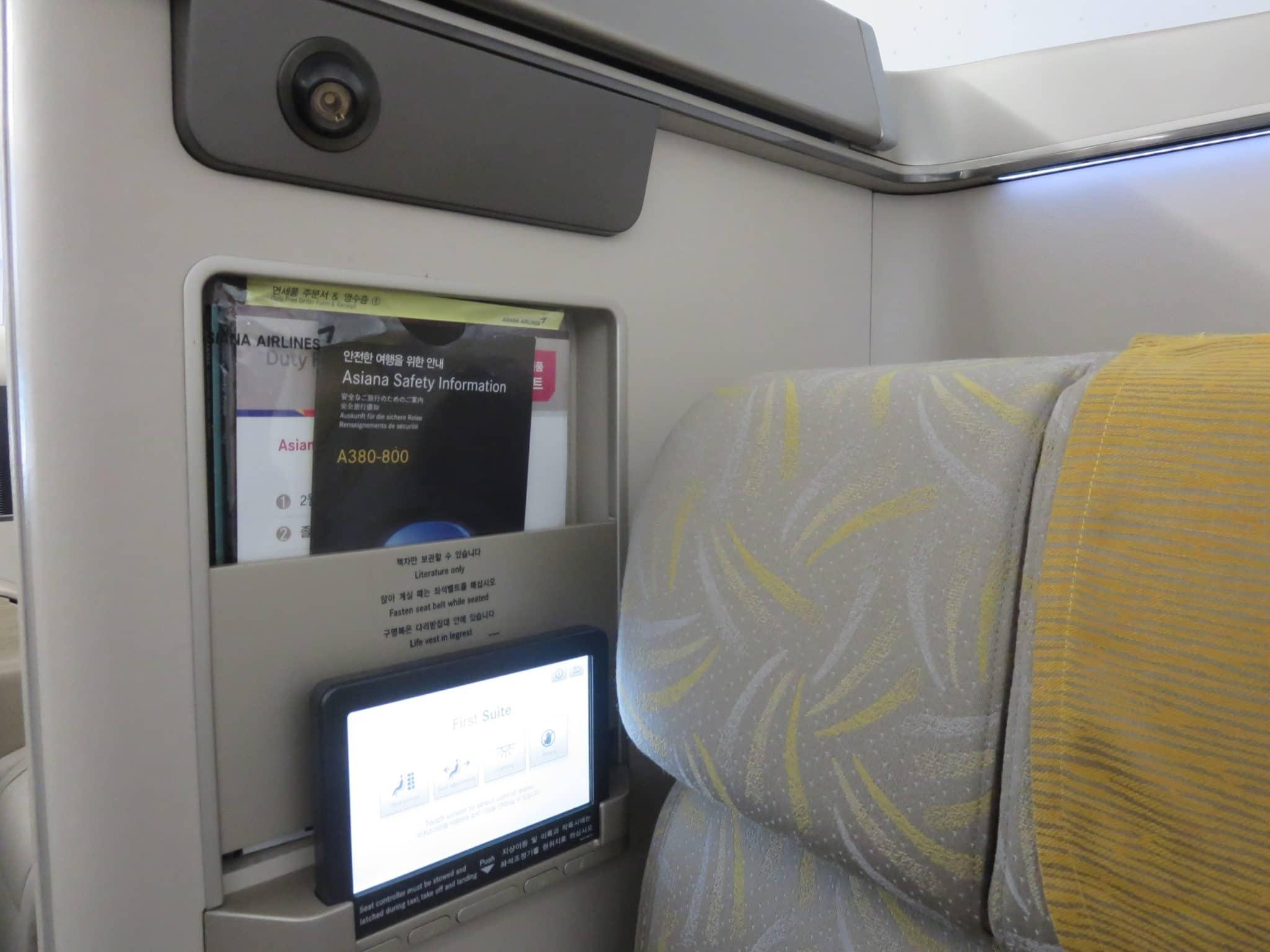 Asiana First Class A380 Sitzeinstellungen