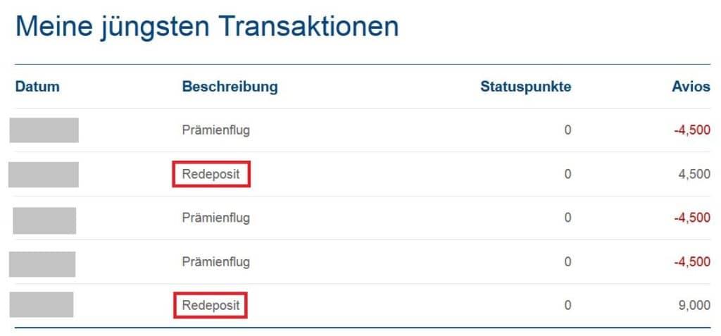 Avios Prämienflug stornieren - Rückerstattung/Redeposit