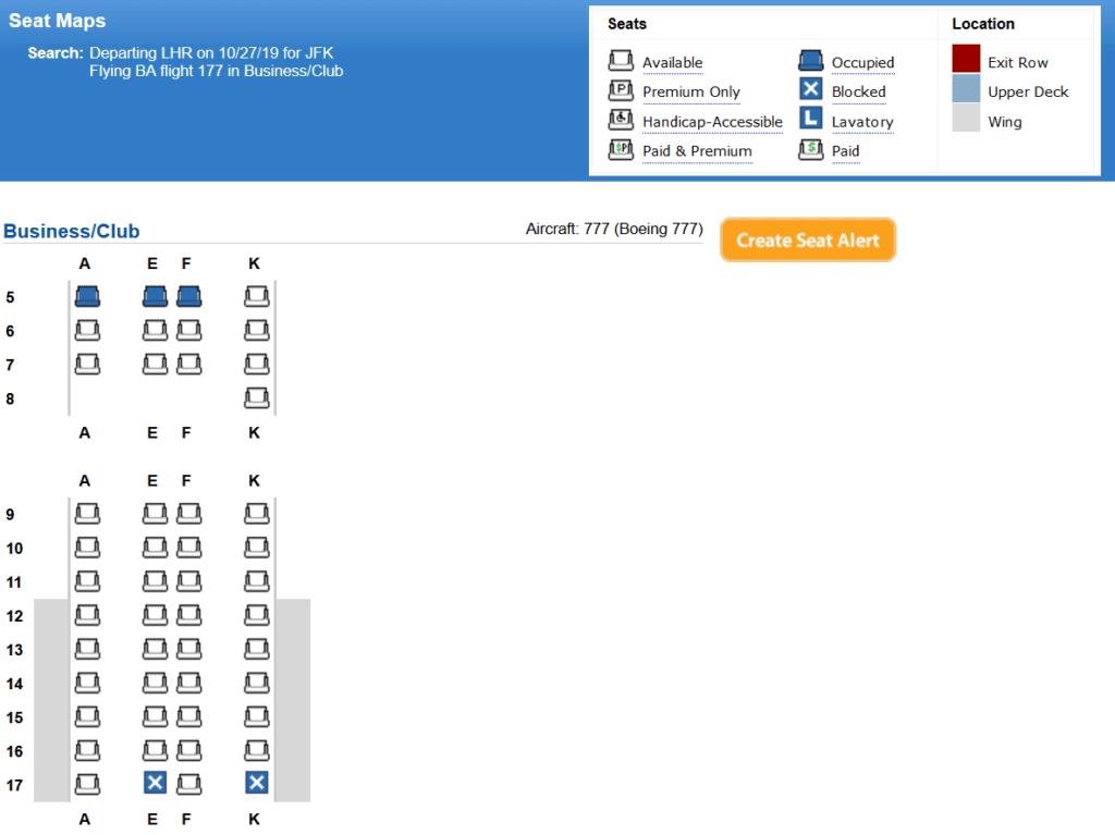 Seat Map für die neue BA Club Suite an Bord der Boeing 777
