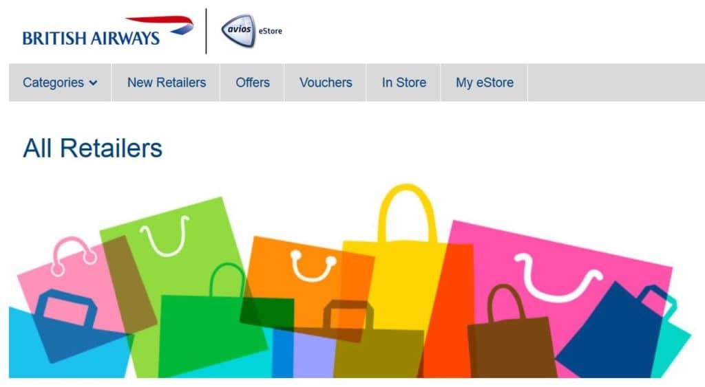 Im British Airways eStore lassen sich Avios durch Onlineeinkäufe sammeln