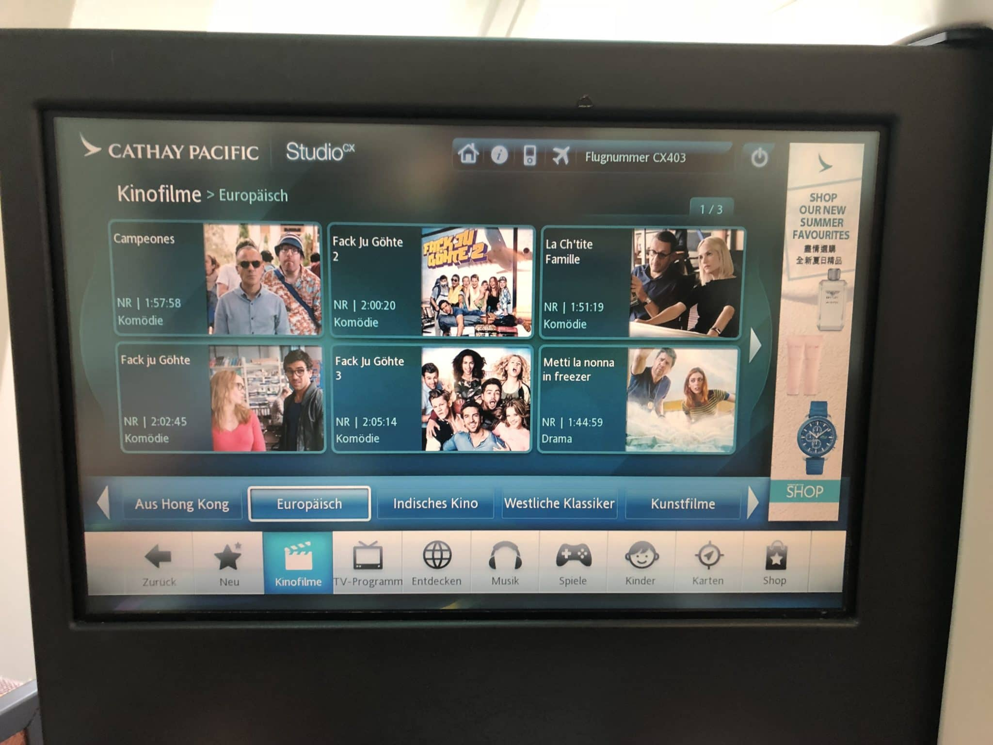 Cathay Pacific Business Class A330 Auswahl Filme