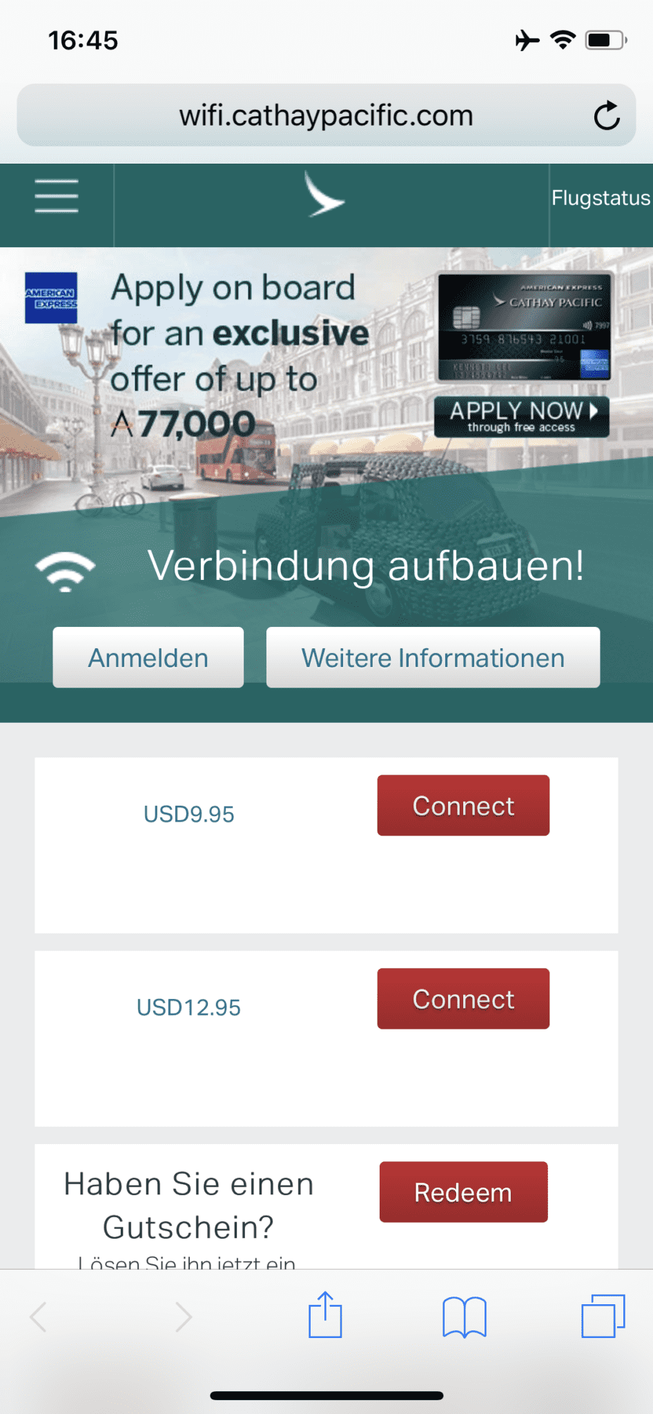 Cathay Pacific Business Class A350-1000 WiFi Kosten