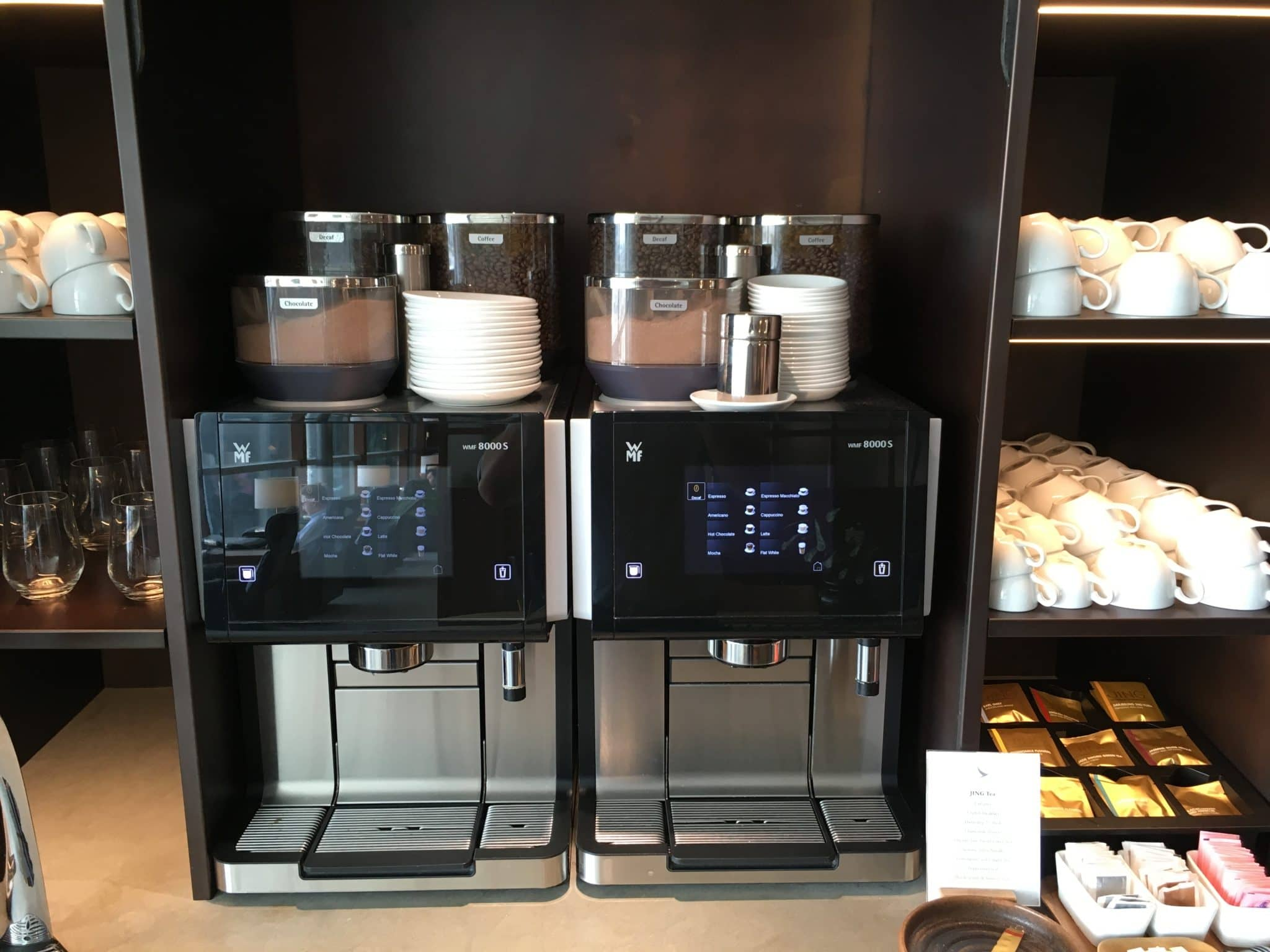 Cathay Pacific Business Class Lounge London Kaffeemaschine