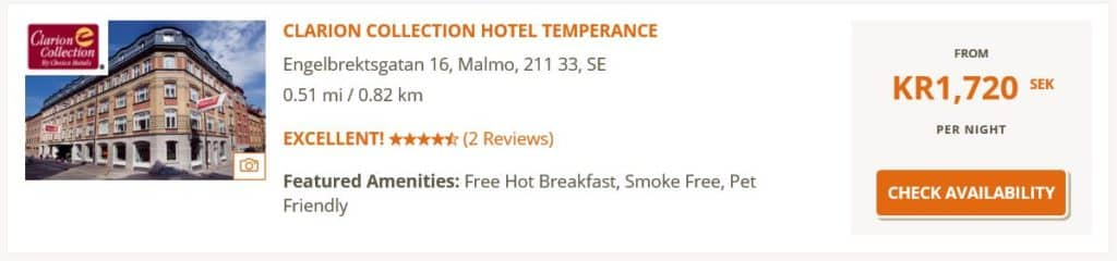 Eine Nacht im Clarion Collection Hotel Temperance in Malmö kostet regulär über 150 Euro