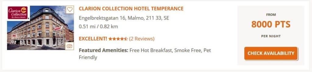 Wer 8.000 Choice Punkte kauft, zahlt für eine Nacht im Clarion Collection Hotel Temperance in Malmö umgerechnet nur 54 Euro