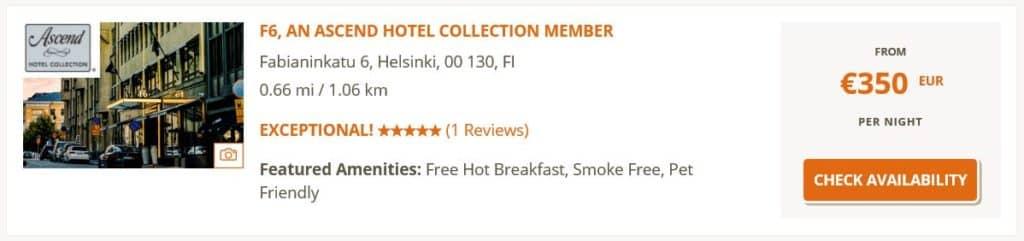 Das F6 Hotel in Helsinki kostet regulär über 300 Euro pro Nacht