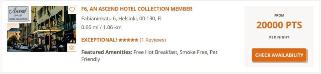 Wer 20.000 Choice Punkte kauft, zahlt für eine Nacht im F6 Hotel in Helsinki umgerechnet nur 128 Euro