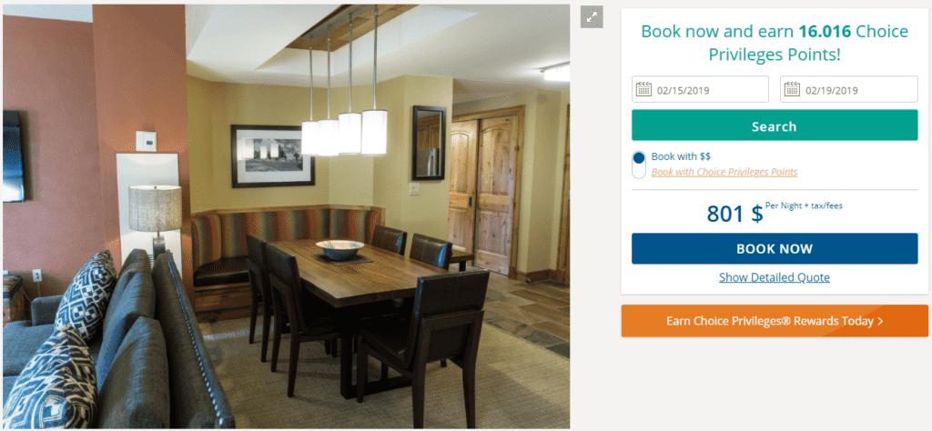 Beispielbuchung in Cash für eine One Bedroom Suite im Grand Summit Hotel in Park City im Februar