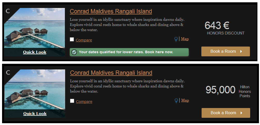 Das Conrad Maldives Rangali Island lässt sich für 95.000 Hilton Honors Punkte pro Nacht buchen