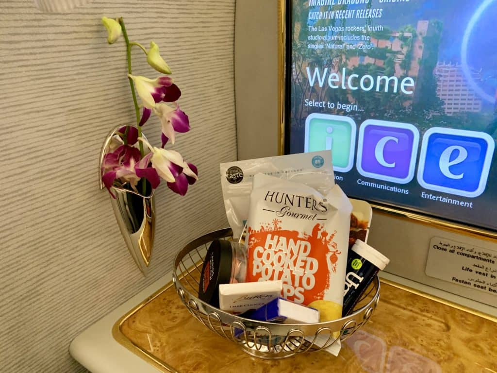 Emirates First Class A380 Snackkorb