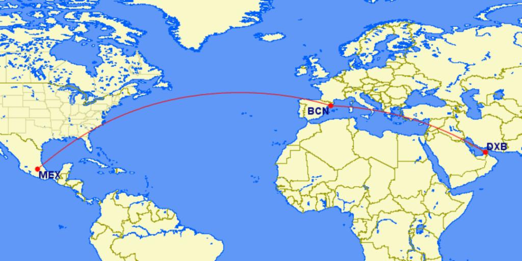Emirates neue Route von Dubai über Barcelona nach Mexico City &copy gcmap.com