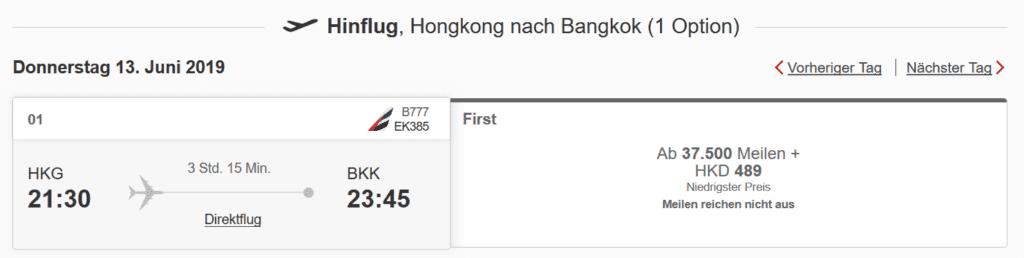 Hongkong - Bangkok in der Emirates First Class ist für 37.500 Meilen und ca. 55 Euro Steuern und Gebühren buchbar