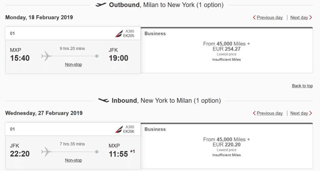 Emirates Business Class Flug von Mailand nach New York und zurück