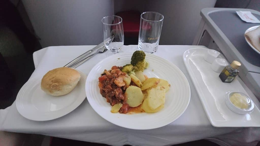 Ethiopian Airlines Business Class Boeing 787-8 Chicken