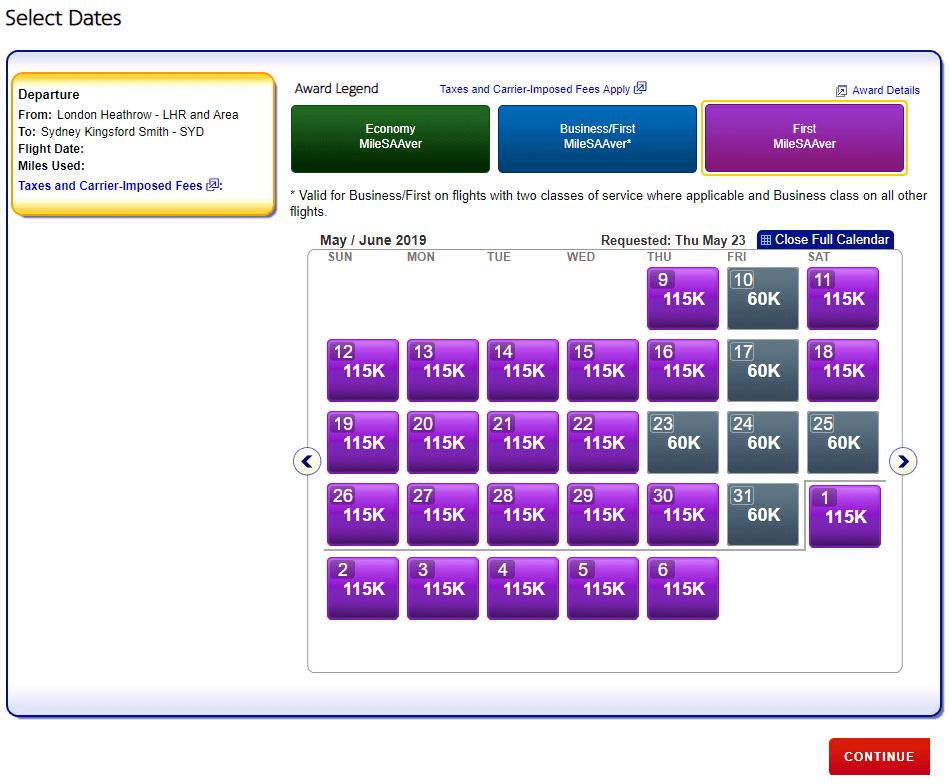First Class Verfügbarkeit für London - Sydney (Alle Airlines)