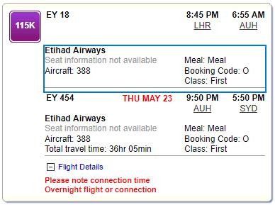 21 Stunden Etihad Apartment Flugvergnügen mit dem A380