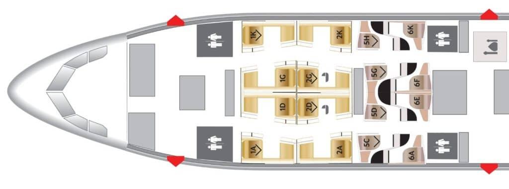 Seatmap für die Etihad First Class an Bord der Boeing 787-9 &copy Seatguru