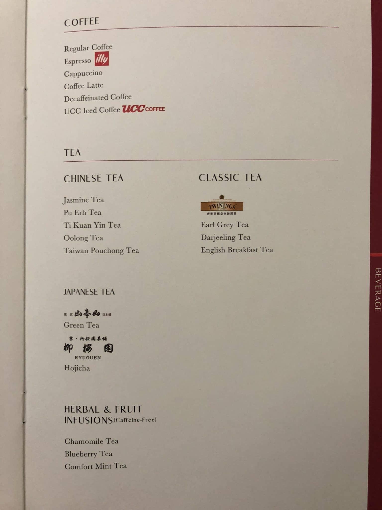 EVA Air Business Class Boeing 777-300 Kaffee und Tee