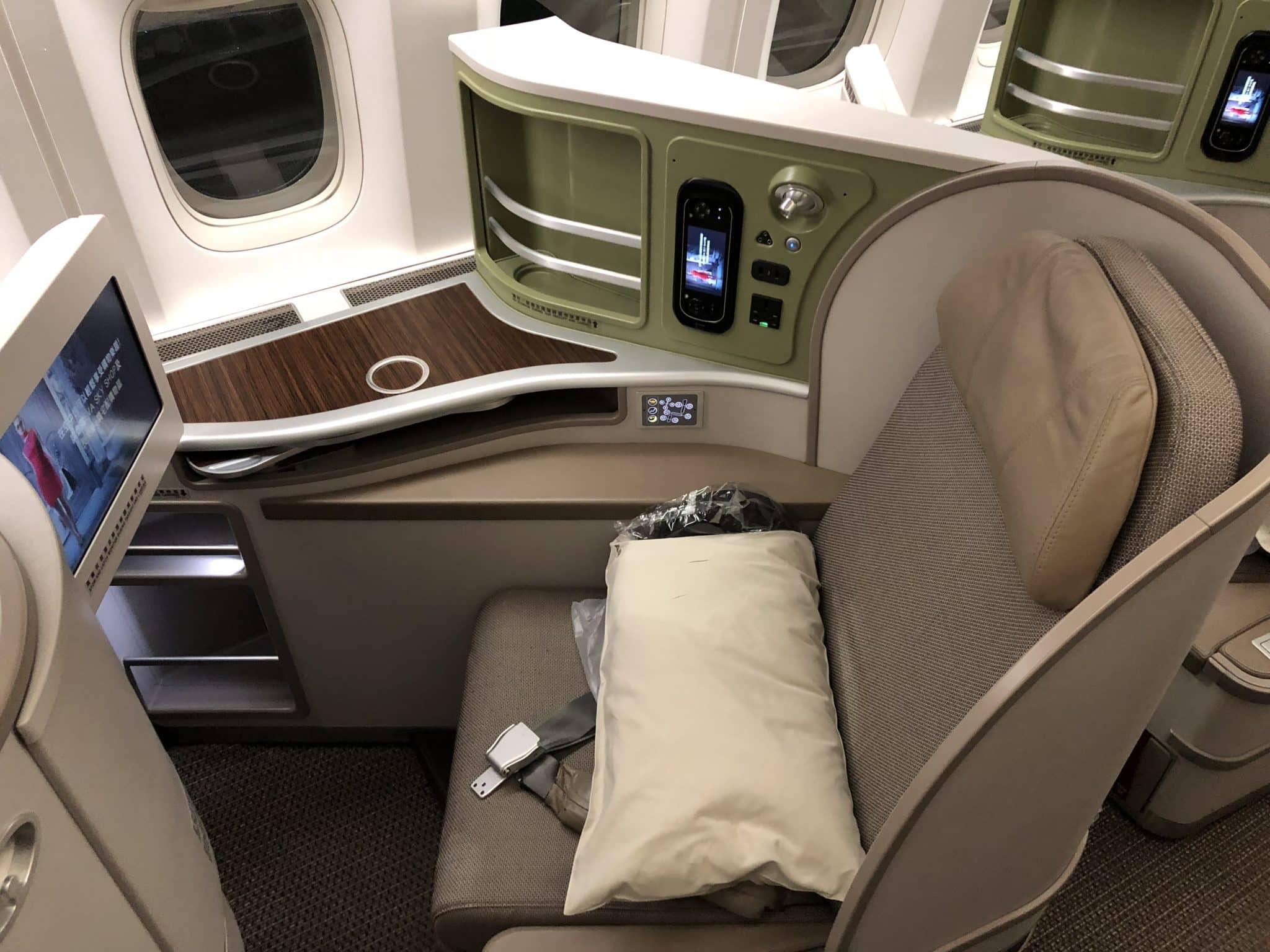 EVA Air Business Class Boeing 777-300 Sitz Rueckflug