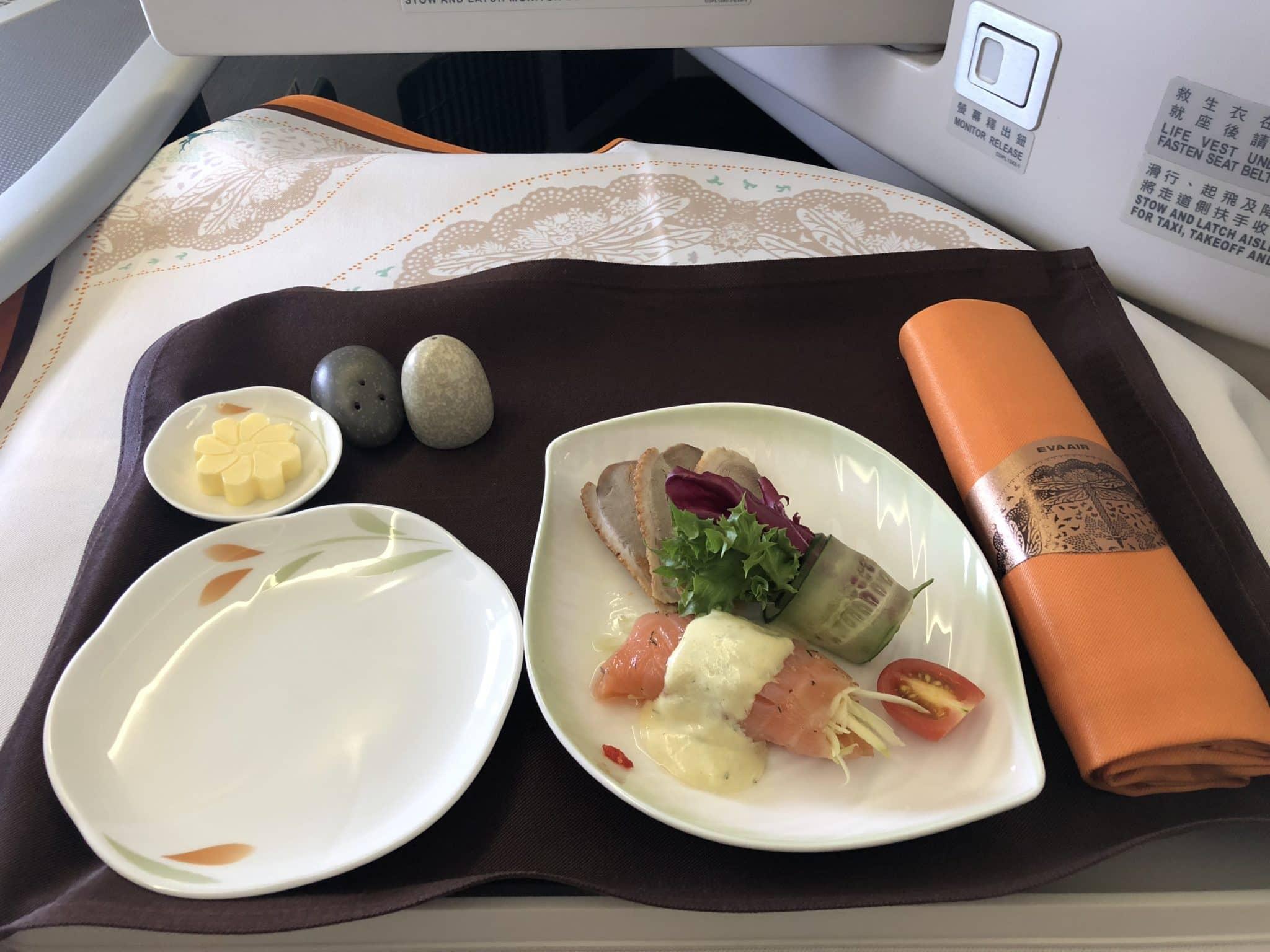 EVA Air Business Class Boeing 777-300 Smoked Salmon