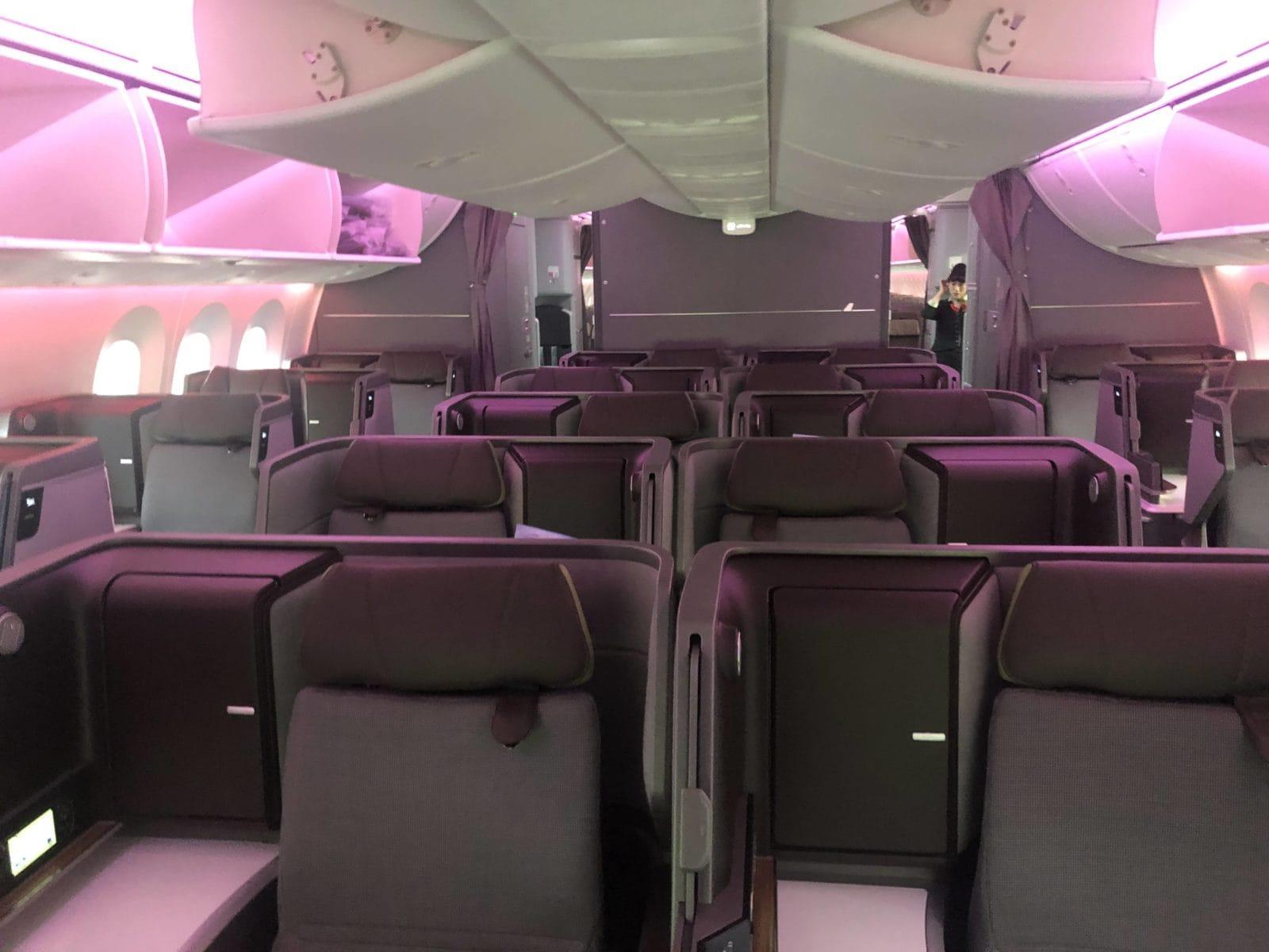 EVA Air neue Business Class 787-9 Kabine von vorne