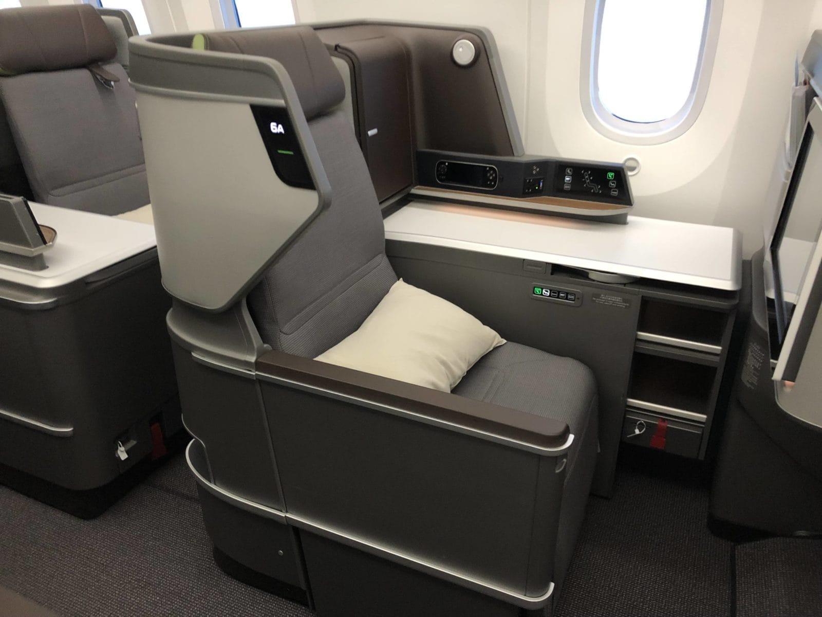 EVA Air neue Business Class 787-9 Sitz Ablagefach Fenster