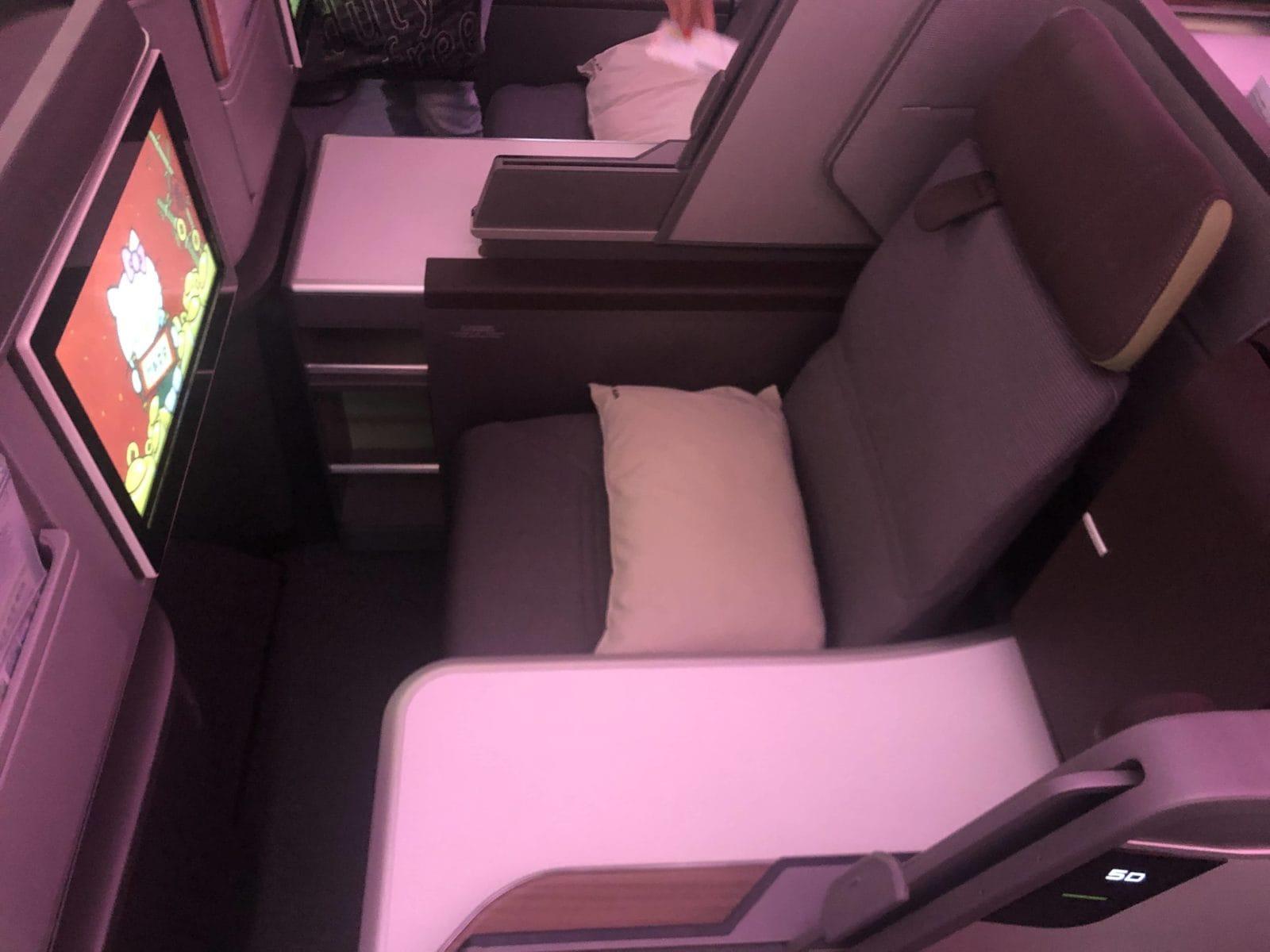 EVA Air neue Business Class 787-9 Sitz von oben