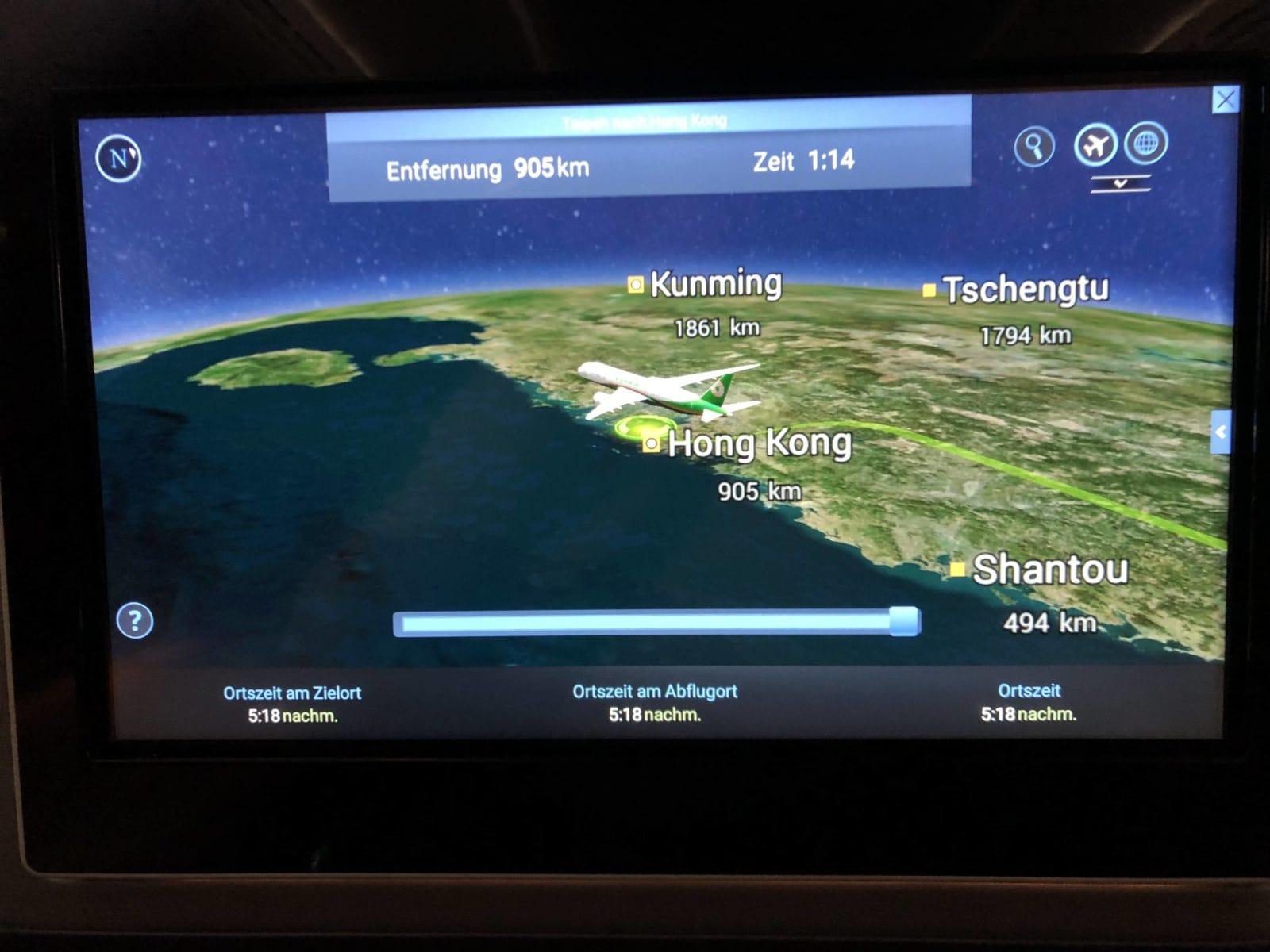 EVA Air neue Business Class 787-9 Anflug Hong Kong