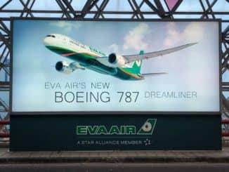 EVA Air neue Business Class 787-9 Werbeplakat