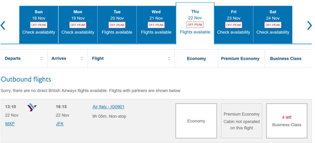 Avios können für Prämienflüge mit Air Italy eingelöst werden