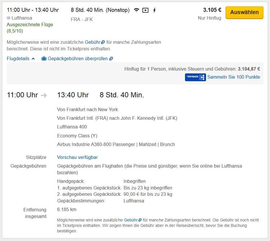 Expedia Flugbuchung mit Anzeige der Buchungsklasse