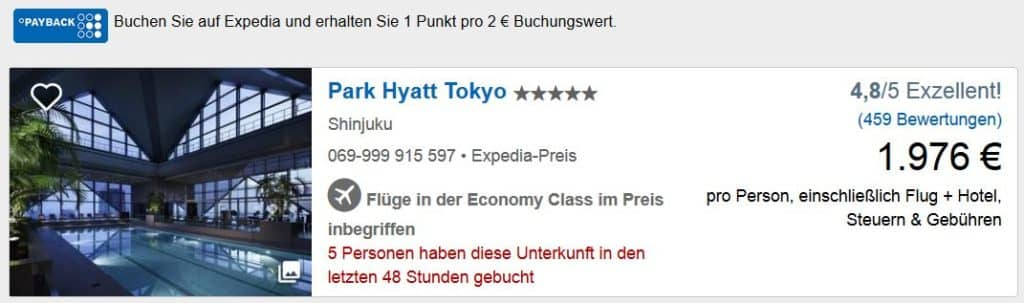 Mit Expedia Miles & More bzw. Payback Punkte sammeln Park Hyatt Tokyo
