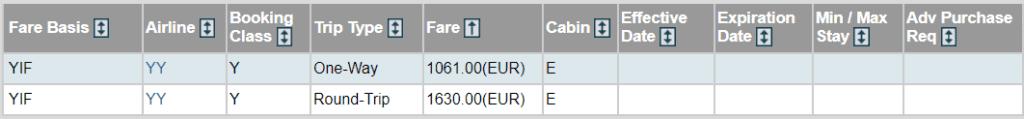 Beispiel eines IATA-Tarifs