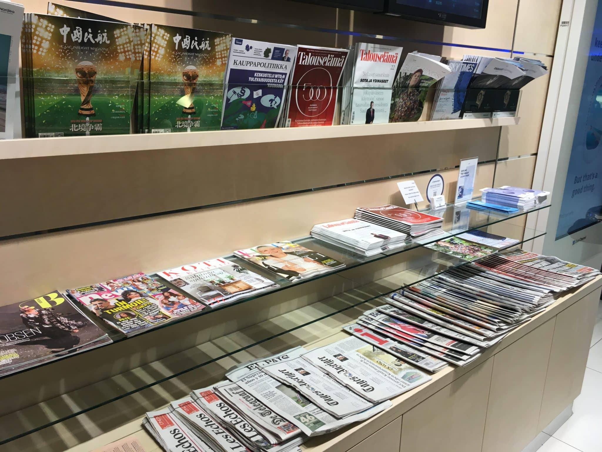 Finnair Lounge Helsinki Non-Schengen Zeitschriften